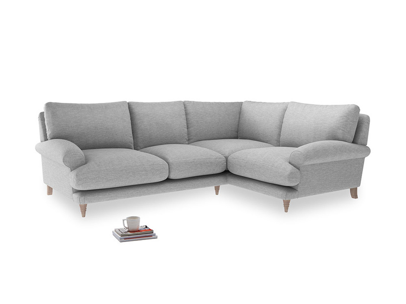 Large Right Hand Slowcoach Corner Sofa in Mist cotton mix
