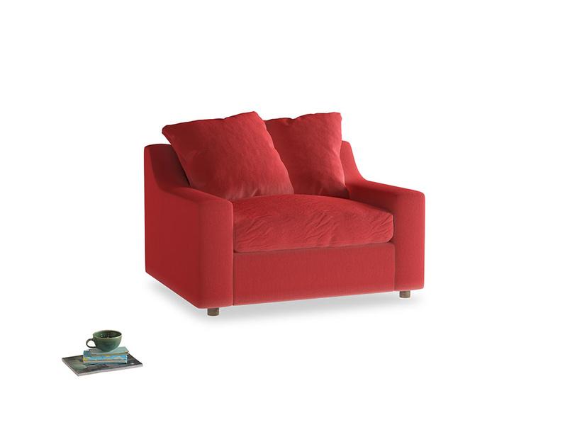 Cloud Love Seat Sofa Bed in True Red Plush Velvet