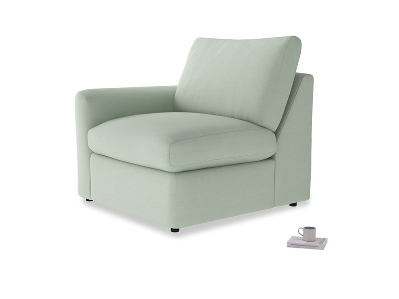 Chatnap Storage Single Seat in Soft Green Clever Softie with a left arm