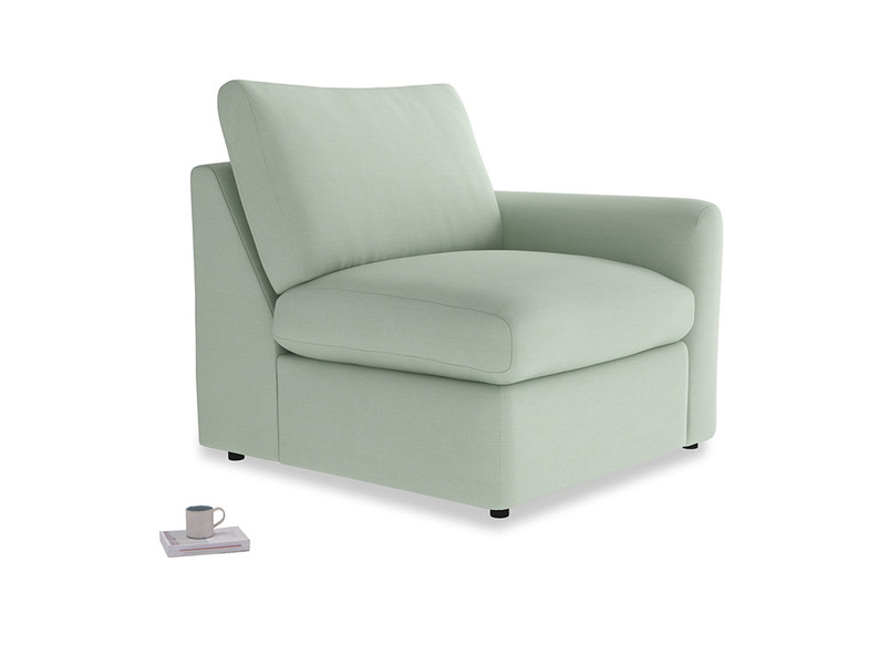 Chatnap Storage Single Seat in Soft Green Clever Softie with a right arm