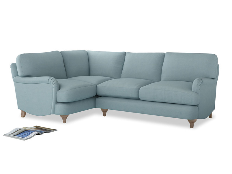 Large Left Hand Jonesy Corner Sofa in Powder Blue Clever Softie