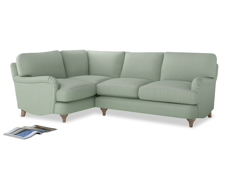 Large Left Hand Jonesy Corner Sofa in Soft Green Clever Softie