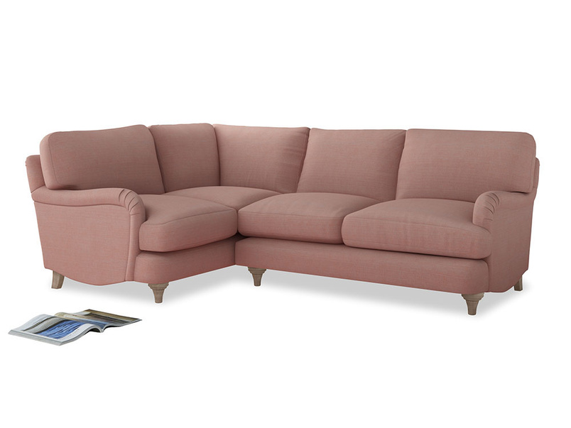 Large Left Hand Jonesy Corner Sofa in Tuscan Pink Clever Softie