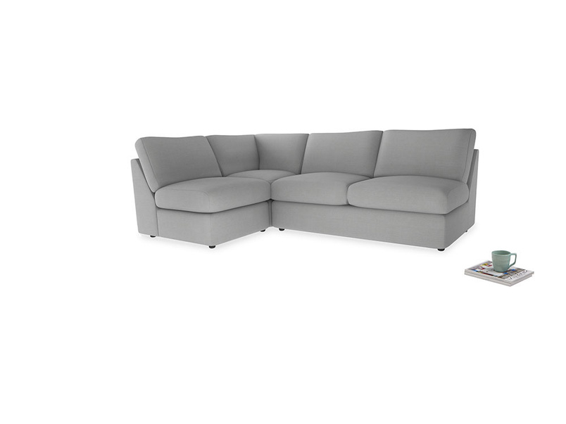Large left hand Chatnap modular corner sofa bed in Pewter Clever Softie