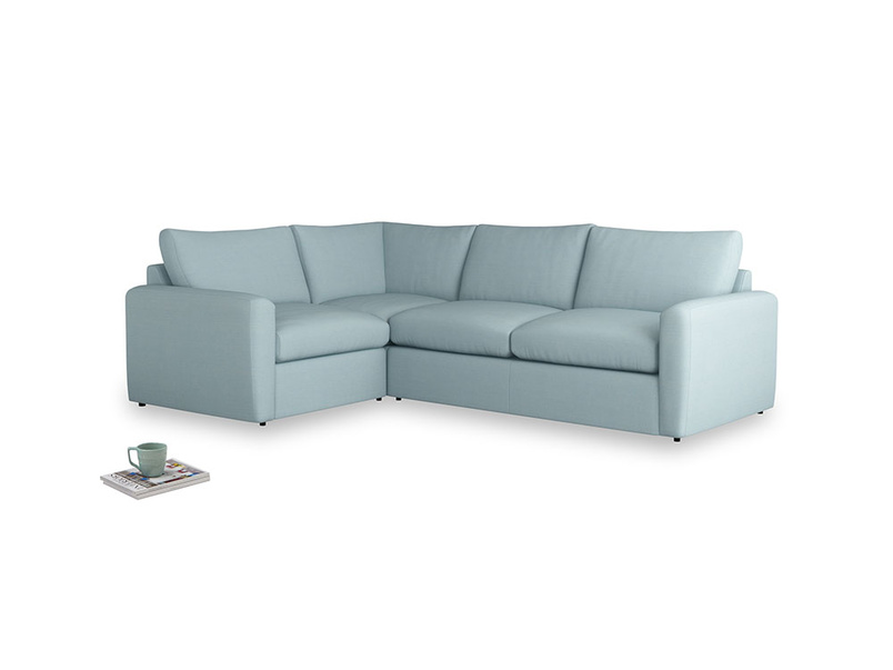Large left hand Chatnap modular corner sofa bed in Powder Blue Clever Softie with both arms