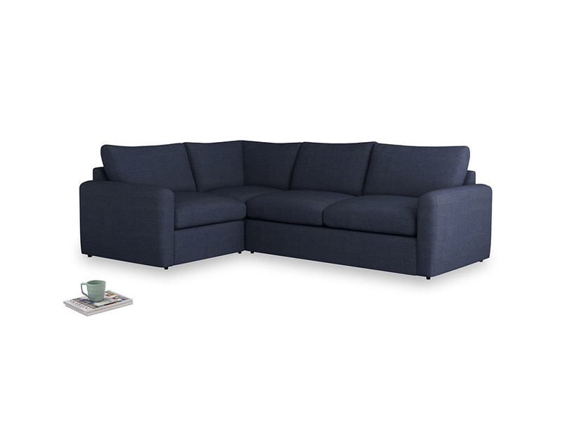 Large left hand Chatnap modular corner sofa bed in Seriously Blue Clever Softie with both arms