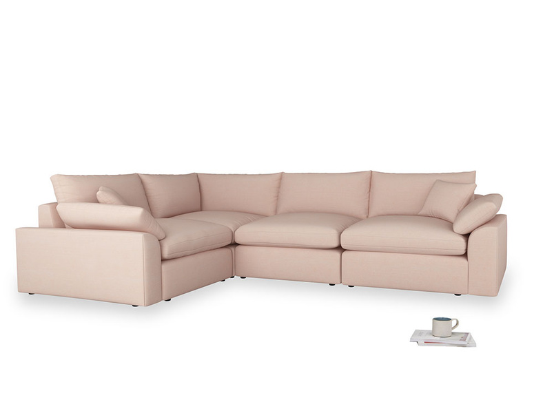 Large left hand Cuddlemuffin Modular Corner Sofa in Pink clay Clever Softie
