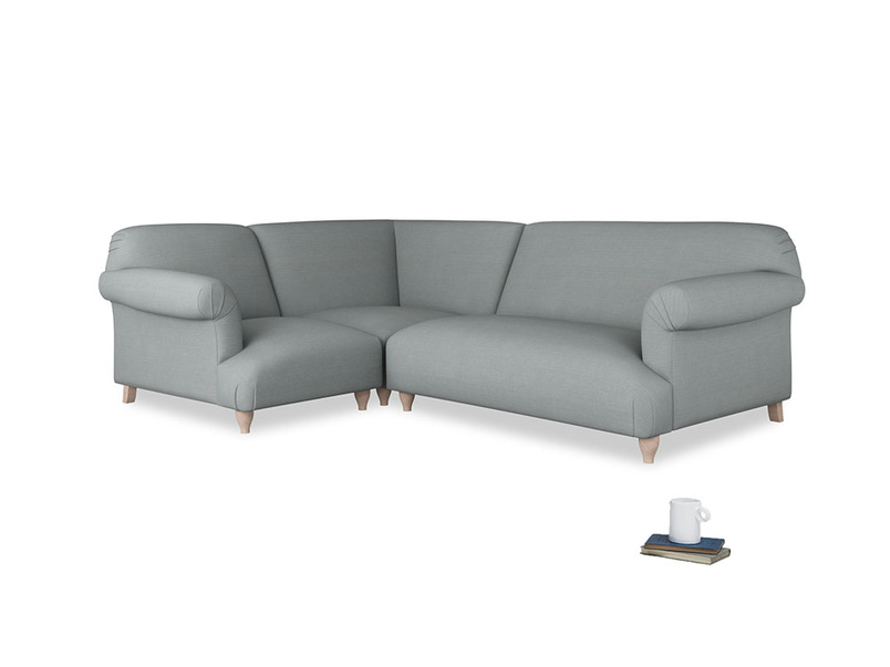 Large left hand Soufflé Modular Corner Sofa in Armadillo Clever Softie with both arms