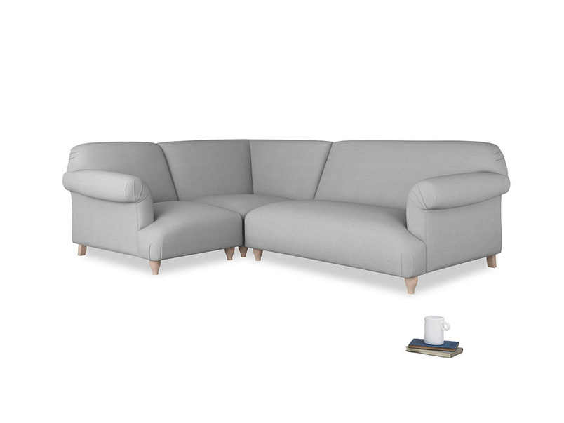 Large left hand Soufflé Modular Corner Sofa in Pewter Clever Softie with both arms