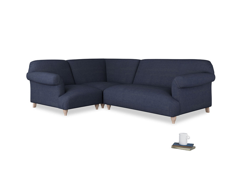 Large left hand Soufflé Modular Corner Sofa in Seriously Blue Clever Softie with both arms