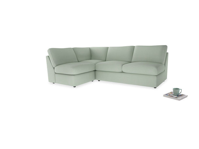 Large left hand Chatnap modular corner storage sofa in Soft Green Clever Softie