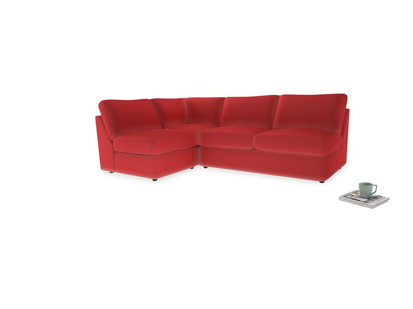 Large Left Hand Chatnap Modular Corner Storage Sofa in True Red Plush Velvet with no arms