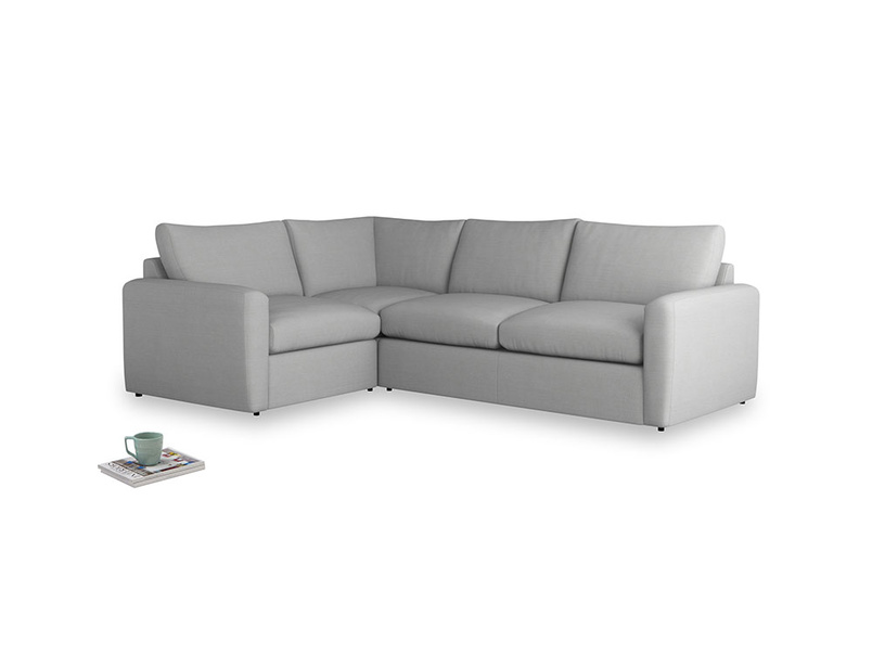 Large left hand Chatnap modular corner storage sofa in Pewter Clever Softie with both arms