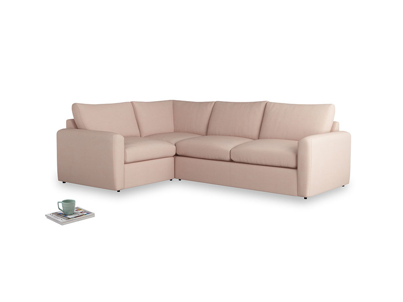 Large left hand Chatnap modular corner storage sofa in Pink clay Clever Softie with both arms