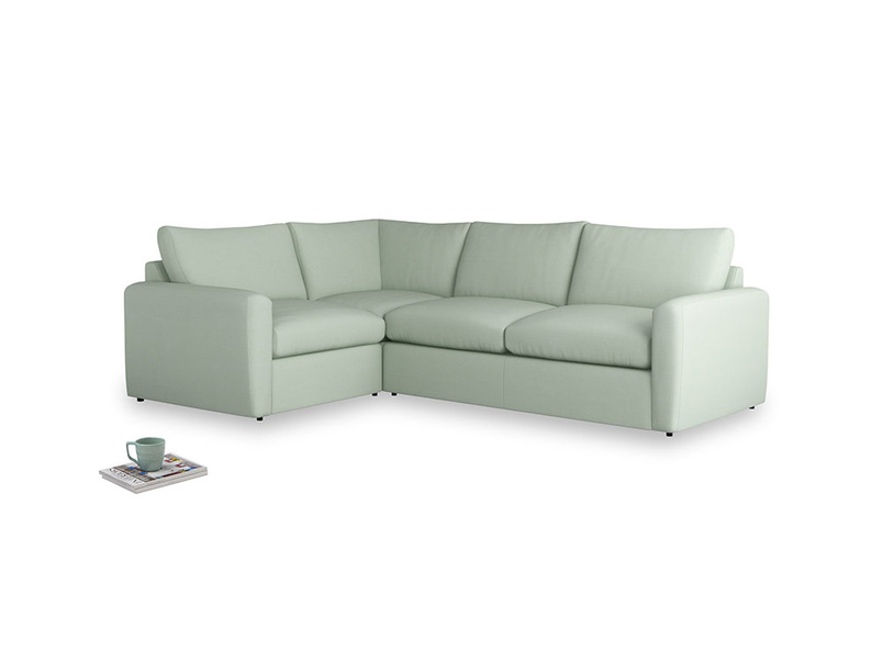 Large left hand Chatnap modular corner storage sofa in Soft Green Clever Softie with both arms