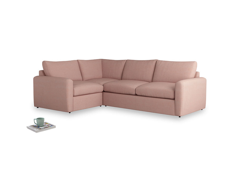 Large left hand Chatnap modular corner storage sofa in Tuscan Pink Clever Softie with both arms