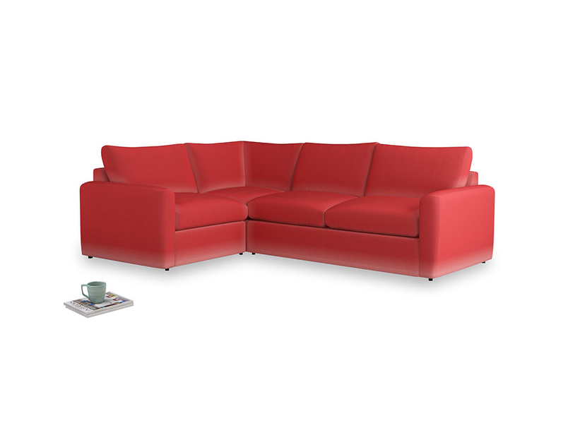 Large Left Hand Chatnap Modular Corner Storage Sofa in True Red Plush Velvet with arms