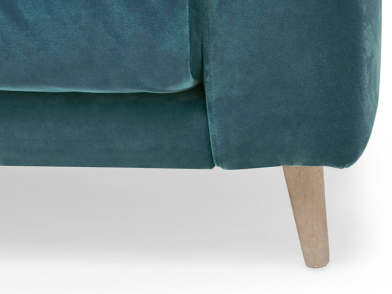 Strudel low arm upholstered love seat front leg detail