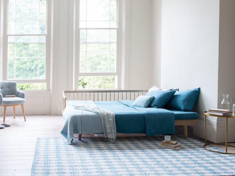 Waves large blue woven floor rug