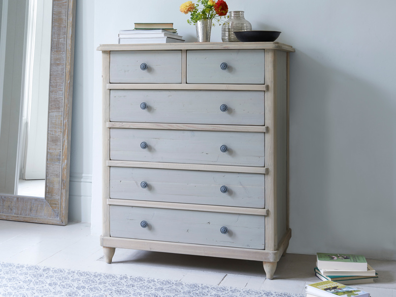 Large Apeldoorn two tone grey painted chest of drawers