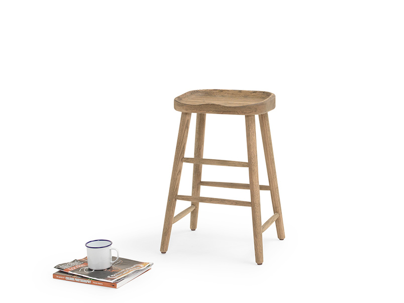 Stylish strong wooden kitchen stool with contoured comfy seating