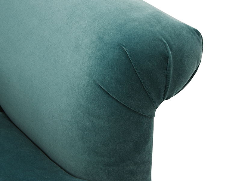 Souffle contemporary upholstered sofa arm detail