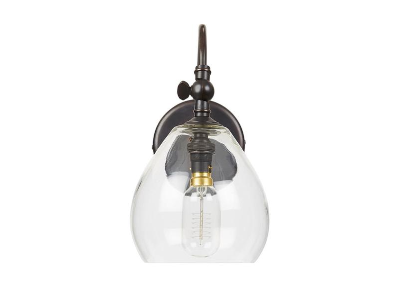 Raindrop glass and brass wall light