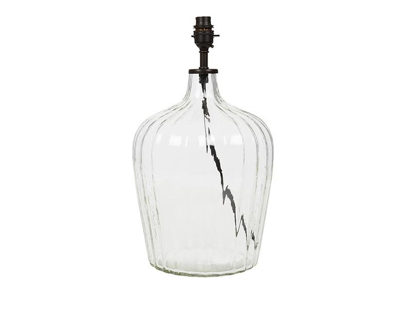 Flute medium glass table lamp glass base detail