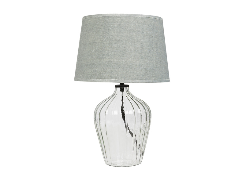 Flute small glass table lamp with Sea Salt shade