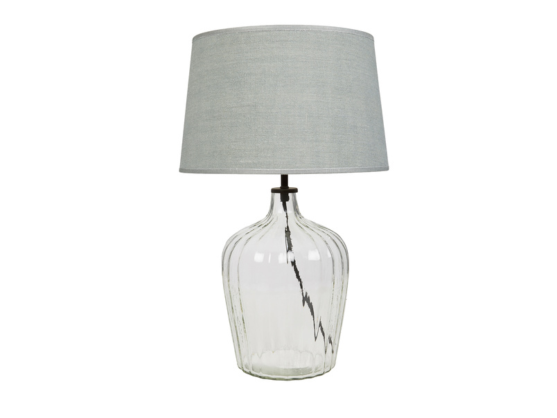 Flute glass bedside lamp Sea Salt shade