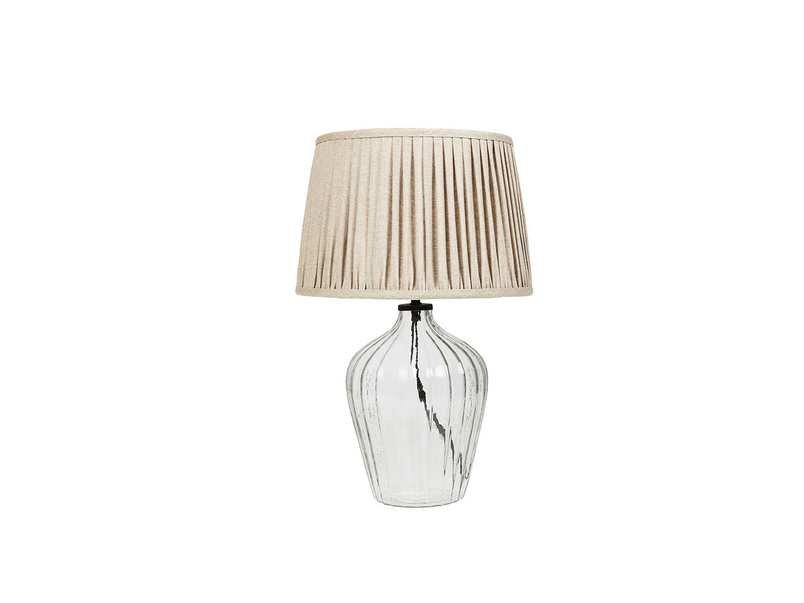 Small Flute Table Lamp with Natural Linen shade