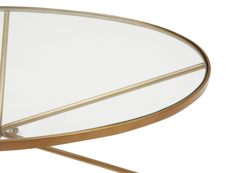 Keeper round brass oval metal glass top coffee table