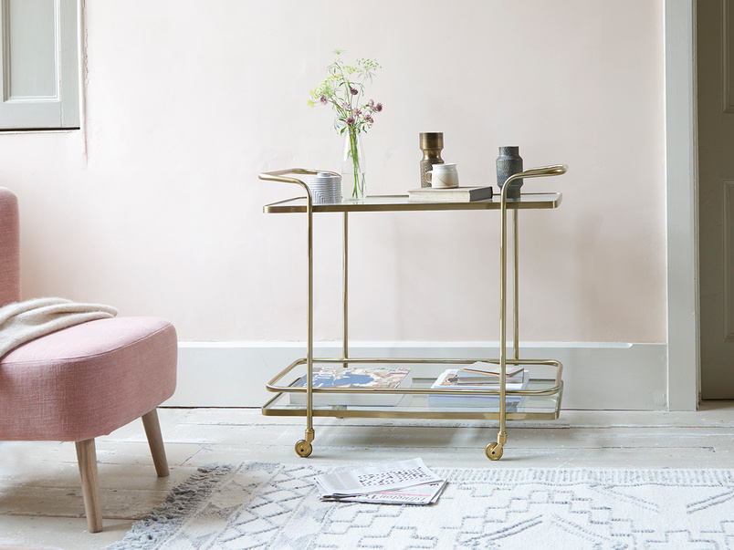 Big Soak antique brass console drinks trolley