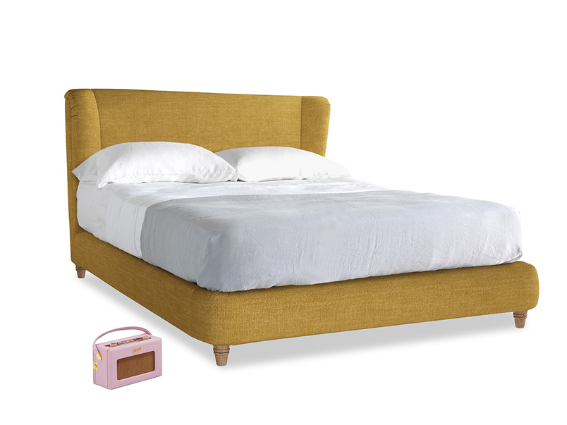 Kingsize Hugger Bed in Mellow Yellow Clever Laundered Linen
