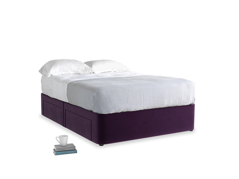 Double Tight Space Storage Bed in Deep Purple Clever Deep Velvet