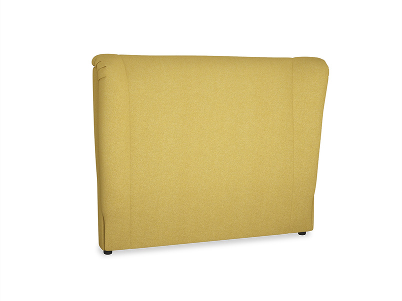 Double Hugger Headboard in Easy Yellow Clever Woolly Fabric