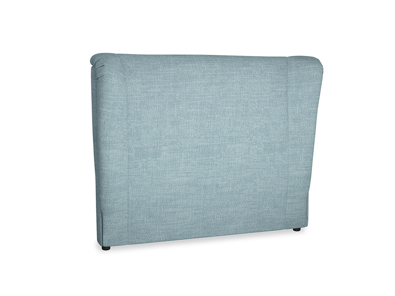 Double Hugger Headboard in Soft Blue Clever Laundered Linen