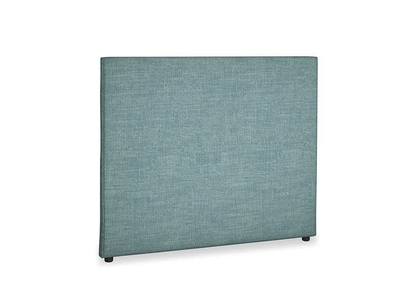 Double Piper Headboard in Blue Turtle Clever Laundered Linen