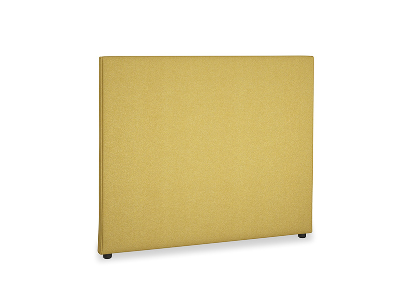 Double Piper Headboard in Easy Yellow Clever Woolly Fabric