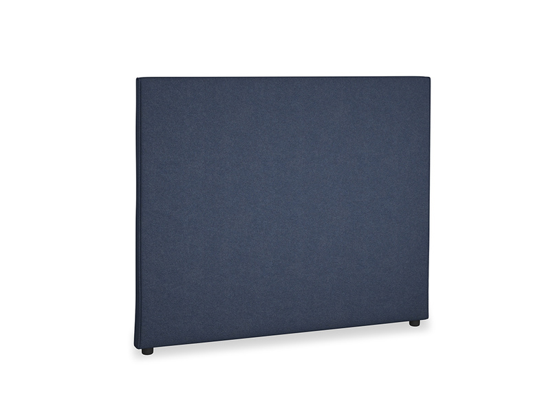 Double Piper Headboard in Night Owl Blue Clever Woolly Fabric