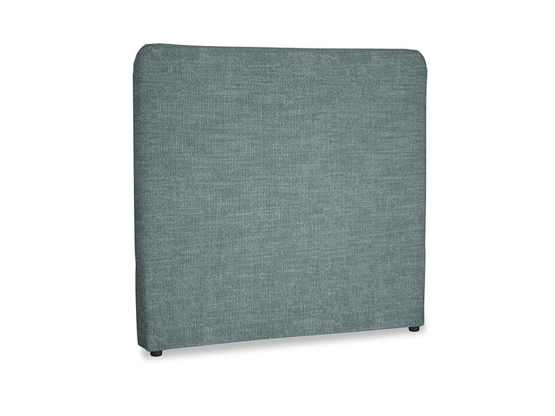 Double Ruffle Headboard in Anchor Grey Clever Laundered Linen