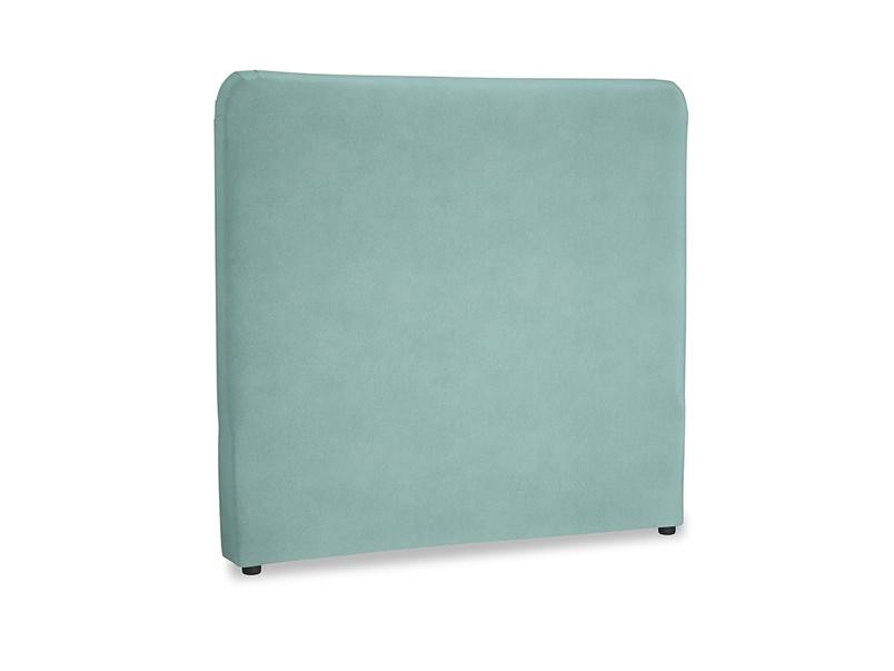 Double Ruffle Headboard in Greeny Blue Clever Deep Velvet