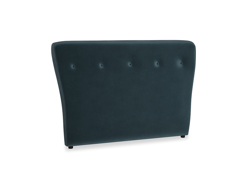 Double Smoke Headboard in Bluey Grey Clever Deep Velvet