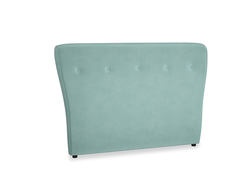 Double Smoke Headboard in Greeny Blue Clever Deep Velvet