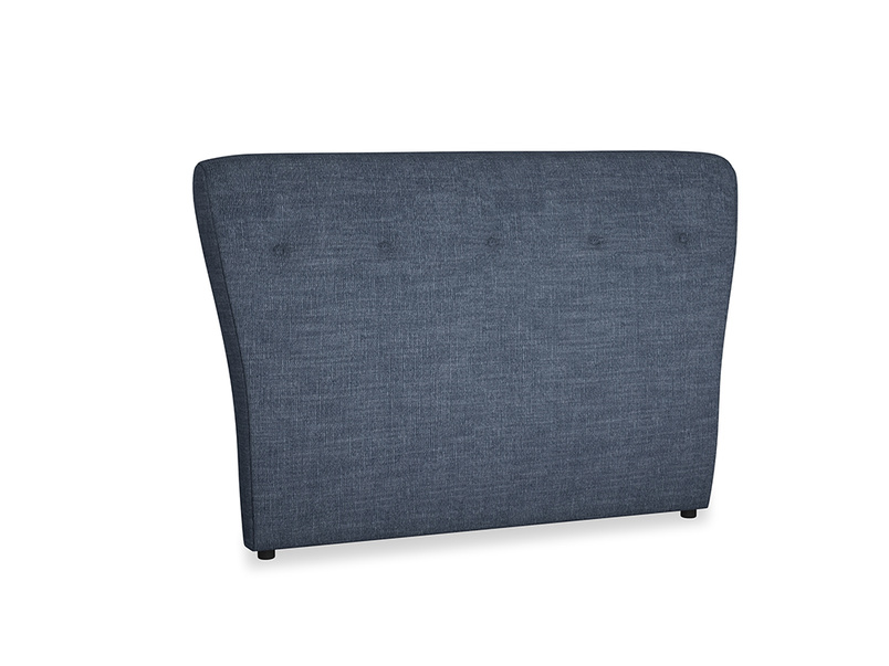 Double Smoke Headboard in Selvedge Blue Laundered Linen