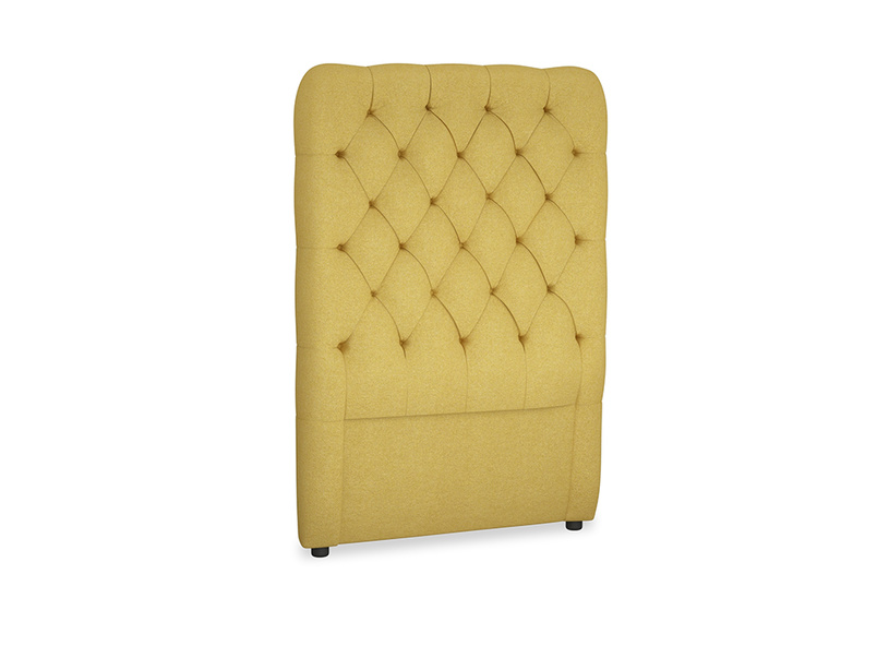 Single Tall Billow Headboard in Easy Yellow Clever Woolly Fabric