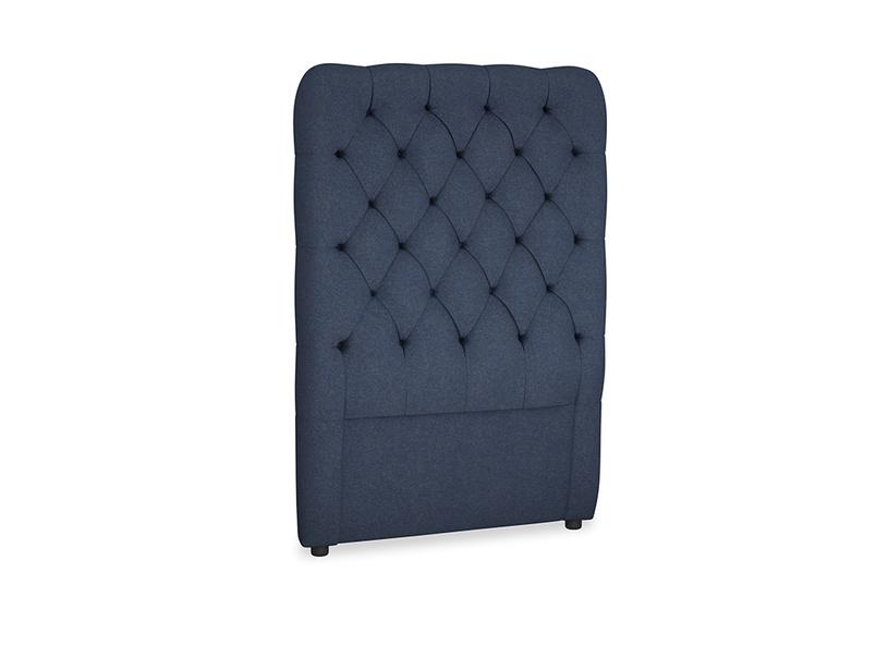 Single Tall Billow Headboard in Night Owl Blue Clever Woolly Fabric