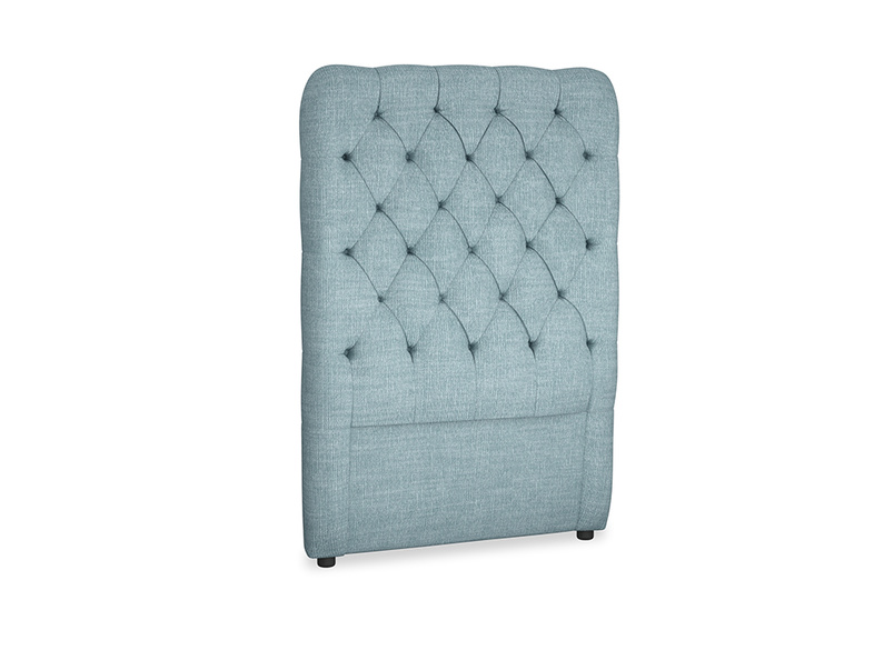 Single Tall Billow Headboard in Soft Blue Clever Laundered Linen