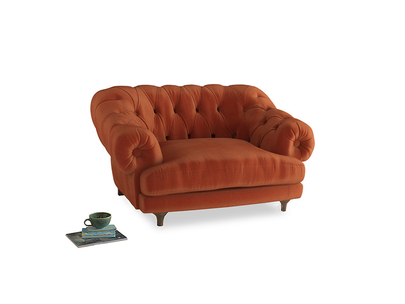 Bagsie Love Seat in Old Orange Clever Deep Velvet