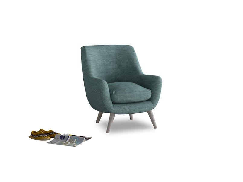 Berlin Armchair in Blue Turtle Clever Laundered Linen